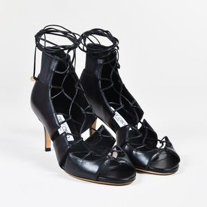 Jimmy Choo Black Leather Lace up Heels Size 35